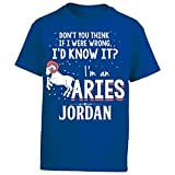 My Family Tee I'd Know It I'm An Aries Woman Named Jordan Gift - Boy Boys T-Shirt Kids L Royal