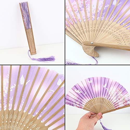 Johouse 4PCS Floral Folding Hand Fan Vintage Handheld Silk Folding Fan with Different Patterns Folding Fan for Wedding Dancing Party