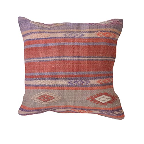 "Unique Handmade Decorative KILIM PILLOW COVER. Multiple Designs, 100% Woven, from Turkey. Authentic boho home DECO. Colorful case cushion with HIDDEN ZIPPER 16×16""/ 40×40 cm (Anhela) Old Kilim Pillow"