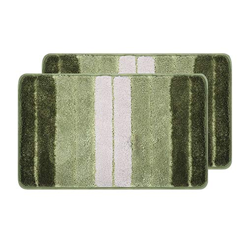 (MACHUMA 2 Pack Grey Stripes Doormats,24 x 16 inch Bathroom Rug, Stripes Pattern Microfiber Soft Non-Slip Absorbent Machine-Washable, Bathroom Bedroom Kitchen Entryway Door Mat Floor Rug Carpet)