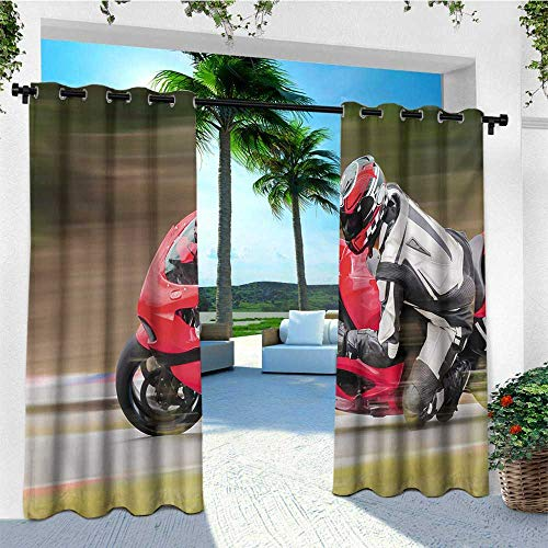 Teen Room, Outdoor Curtain Extra Wide, Racing Motorcycle Athlete in Speed Turning on The Road Activity Colorful Picture, Outdoor Patio Curtains W120 x L96 Inch Multicolor (Best Racing Cycle In India)
