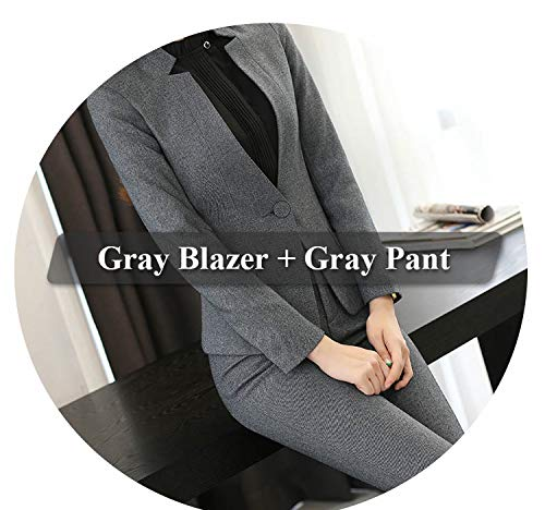 Fx-Hottest-blazer 2 Piece Gray Pant Suits Formal Ladies Office OL Jacket with Trousers Sets,Gray Pant Suit,XXL