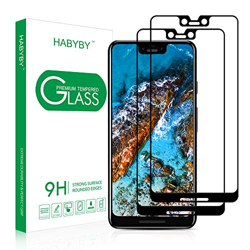Pixel 3 XL Screen Protector[2 Pack], Habyby Shield[Full Coverage][Case Friendly] Tempered Glass Film with Dot Matrix for Google Pixel 3 XL[6.3 inch][Black]