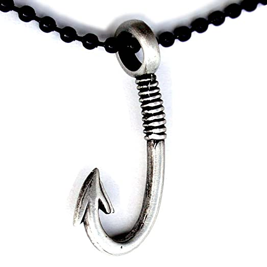 Amazon Tribal Maori Fish Hook Hei Matau Pewter Pendant W Black