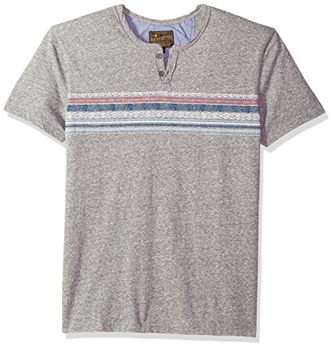 Lucky Brand Men's Button Notch Neck TEE, Heather Grey/Multi, S