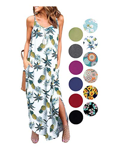 (LIYOHON Women's Summer Casual Loose Dress Beach Cover Up Plain Print Long Cami Maxi Dresses with Pocket Fp)