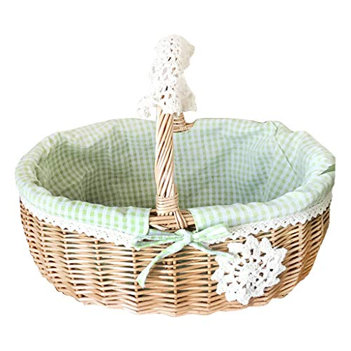 (Beioust Portable Wicker Willow Storage Basket Woven Lined Egg Fruit Hamper Shopping Picnic Kitchen Supplies)