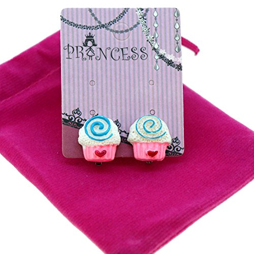 Cute Cupcake Clip-on Stud Earrings for Kids Teenage Girls Daughter Party (Cute Teenage Halloween Costumes For Girls)