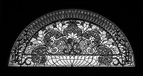 (24 x 36 B&W Giclee Print Stained Glass Detail Above The Main Doorway The Pueblo Union Depot in Pueblo, Colorado 2015 Highsmith 02a )