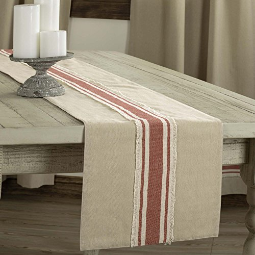 Piper Classics Farmhouse Red Grain Sack Stripe Table Runner, 13″ x 36″, Country Farmhouse Kitchen and Dining Room Table Linen