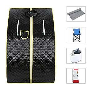 Sauna de vapór portable Portable desintoxicar Perder Peso Spa Personal cuerpo 98 x 70 x 80 cm 1.8L Negro