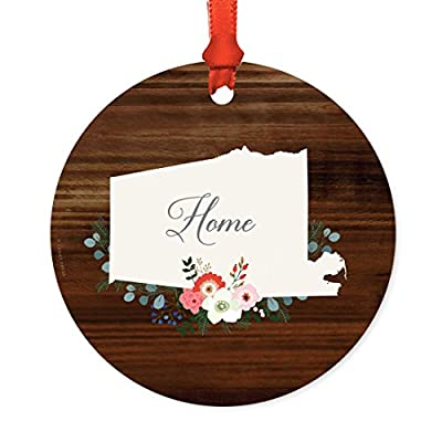 Andaz Press US State and Country Round Metal Christmas Florals Ornament Collection