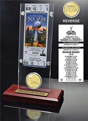 (NFL Seattle Seahawks Super Bowl 48 Champions Ticket & Bronze Desktop Acrylic Coin, 12