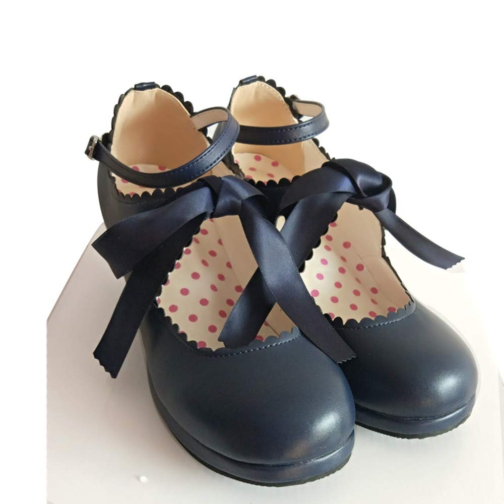 PINGXIANNV Süße Prinzessin Party Schuhe Weiche Leder Frauen Frauen Leder High Heels Cosplay Schnalle Runde Lolita Schuhe 336788