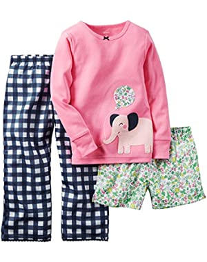 Baby Girls 3 Piece Cotton Jersey Pj Set - Pink Elephant (24m)