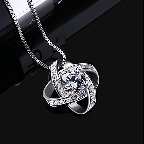 B.Catcher Silver Necklace Womens 925 Silver Cubic Zirconia Pendant Gemini Necklace Mother's Day Gift by B.Catcher (Image #1)