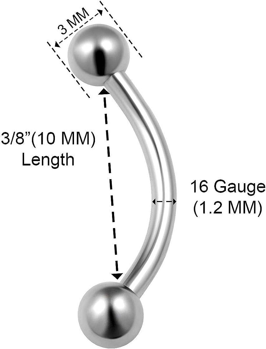 12g Balls Spikes Curved Barbell Banana Bar2.0mm - 16mmStainless Steel