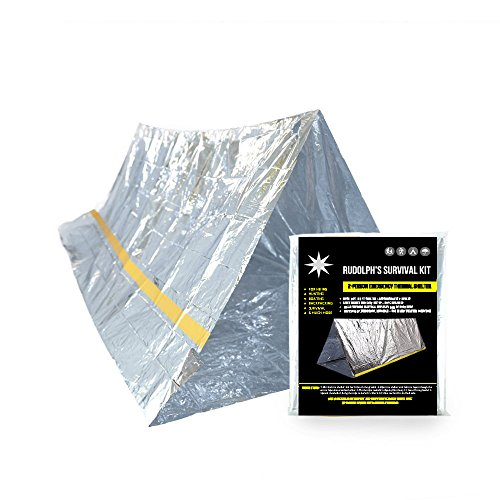 Rudolph's Emergency Survival Shelter Tent | 2 Person Mylar Thermal Shelter | 8' X 5' All Weather Tube Tent | Reflective Material| Lightweight | Waterproof | Best Survival Gear