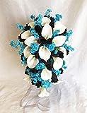 MALIBU BLUE & BLACK Bridal Bouquet & Boutonniere Calla Lily Silk Wedding Flowers
