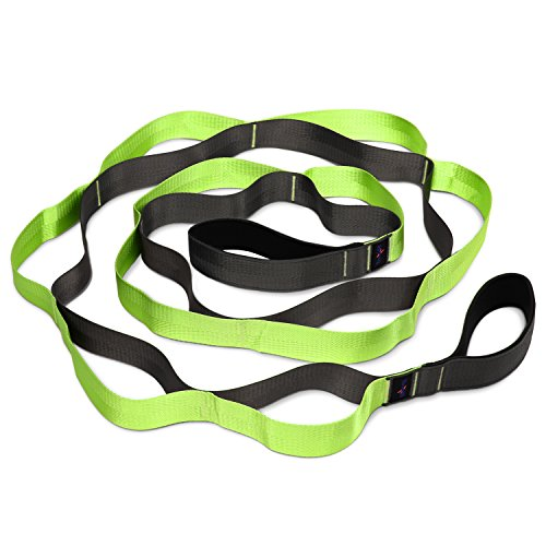 - Yes4All Yoga Stretch Strap with Loops - Stretch Out Strap/Exercise Yoga Strap for Stretching, Flexibility & Physical Therapy (12 Loops, Green/Black)