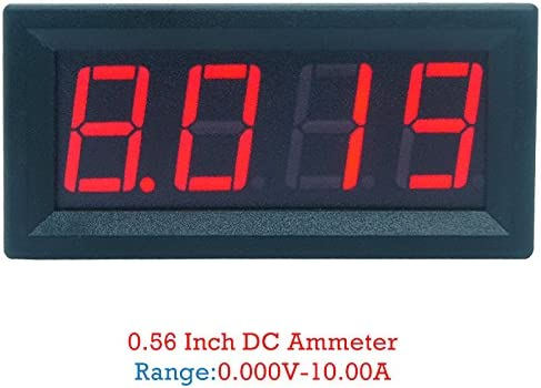 10A Rongzou Amperemeter 0-9.999A 4-stelliges Bit Strommessger/ät Anzeige 0,56 Zoll Rote LED