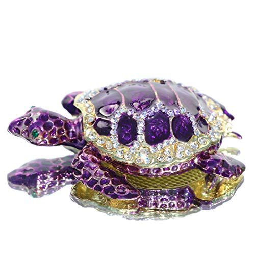 Waltz&F Purple sea turtleTrinket Box Hinged Hand-Painted Figurine Collectible Ring Holder with Gift Box ()
