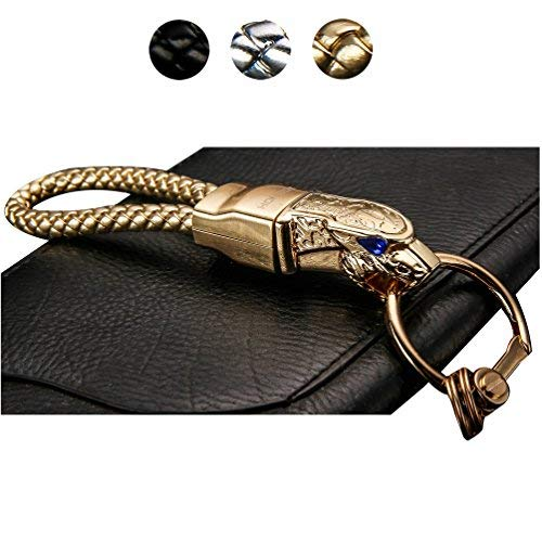 Leather Cord Key Chain,Elegant Detachable Car & Home Keychain for Man and Women,Metal Leopard Head with Blue Diamond Eyes,Metal Head 360 Degree Rotation by Quality Life Designer (Gold-C ()