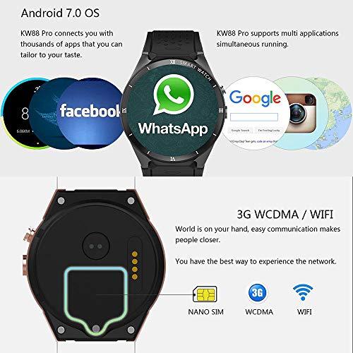 Teepao [Versión actualizada KW88 3G Smart Watch WiFi SmartWatch teléfono móvil Todo en uno Bluetooth Smart Watch Android 7.1 Tarjeta SIM con GPS, cámara, ...