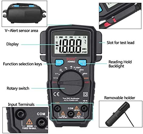 kaige Auto-Ranging Multimeter True RMS Dual Slot Home Automotive DMM Pocket Voltmeter Current Electrical Testing Voltage Testers WKY