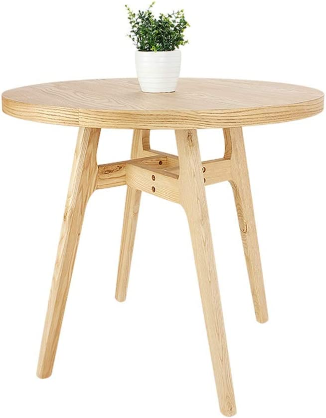 small round wooden outdoor side table