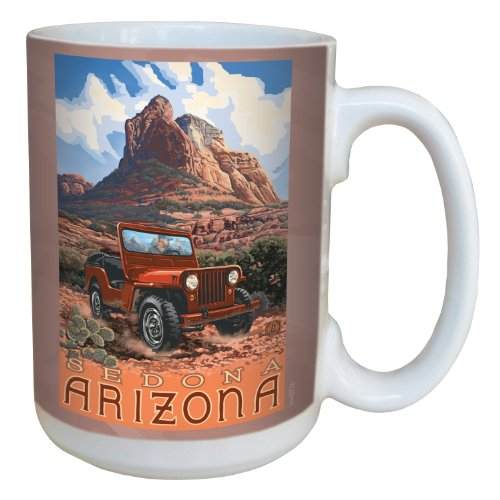 Sedona Arizona Scenic Vintage Jeep Coffee Cup by Paul A. Lanquist with Full-Sized Handle