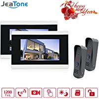 JeaTone 7 Color TFT LCD Video Door Phone Touch Button Door Intercom IR Night Vision Camera Doorbell Kit Waterproof Support Monitoring Unlock Dual way Door Talking 2 Monitor 2 Camera