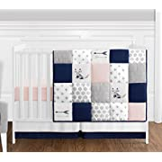 4 pc. Navy Blue, Pink, and Grey Patchwork Woodland Fox and Arrow Baby Girl Crib Bedding Set without Bumper by Sweet Jojo Designs