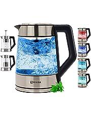 Glazen waterkoker met theezeef en kalkfilter, temperatuurinstelling 50 °C - 100 °C, 2200 W, 1,7 liter, roestvrij staal met temperatuurkeuze, ledverlichting in kleurverandering, 100% BPA-vrij, warmhoudfunctie