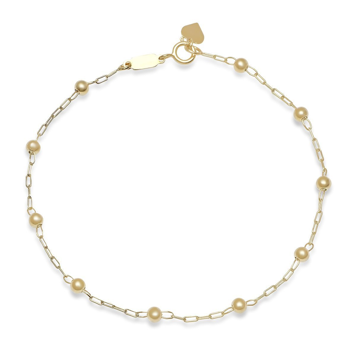 Pori Jewelers 14K Solid Gold 3.0mm Beaded Ball Bracelets-7.5'' - Made in Italy- Choose your charm and color (Heart, yellow-gold)