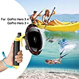 for GoPro Dome Port Hero 4 Hero 3 3+, Underwater Housing with Trigger Pistol and Floating Grip Photography Lens Hood Waterproof Case for GoPro Accessory (for GoPro Hero 4/3/3+)