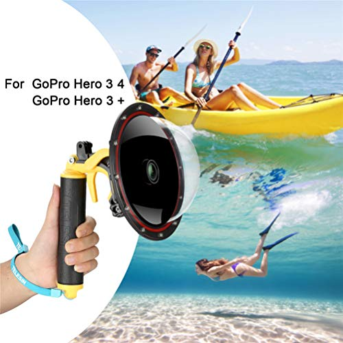 for GoPro Dome Port Hero 4 3 3+, Underwater Housing with Trigger Pistol and Floating Grip Photography Lens Hood Waterproof Case for GoPro Accessory (for GoPro Hero 4/3/3+) (Go Pro Hero 4 Dive Mask)