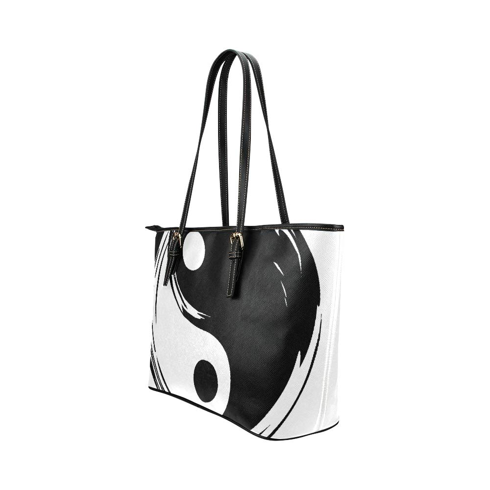 Chinese Yin Yang Tao Mandala Element Large Soft Leather Portable Top Handle Hand Totes Bags Causal Handbags With Zipper Shoulder Shopping Purse Luggage Organizer For Lady Girls Womens Work