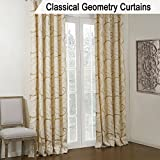 KoTing Yellow Golden Circle Geometry Curtain for Living Room 1 Panel Beige Drape Grommet Top 42W by 63L Inch Review