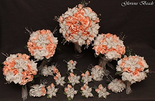 (Blush Pink Beaded Lily Wedding Flower 17 piece set with Blush and White Roses ~ Unique French beaded flowers and beaded sprays. Includes Bouquets Corsages and Boutonnieres)