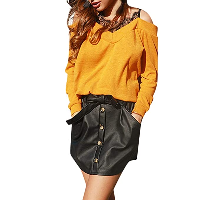 ZODOF Camiseta Mujer,Mujeres Camisetas Manga Larga Blusas de Encaje Flores Lace Crochet Sin Tirantes Camisas Lace Shirt: Amazon.es: Ropa y accesorios