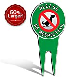 Extra Large No Poop Dog Signs | Stop Dogs From Pooping On Your Lawn | Sign Politely Reads:''Please Be Respectful'' (XLarge No Pooping)