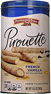 Pepperidge Farm Crème Filled Pirouette Rolled Wafers, French Vanilla, 13.5-ounce can