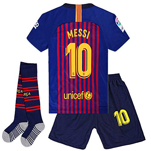 2018-2019 Barcelona Home Kids/Youth Season #10 Messi Socce Jersey Matching Shorts,Socks.Shin Guards(11-12Y/size 26Blue/Red) (Barcelona Jersey 2018 2018)