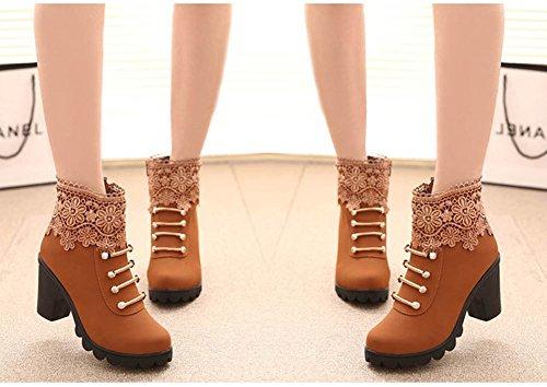 Zapatos Mujer Martin Alto Shoes Botines Elegante Invierno De Otoño Moda Botas Marrón Casual Boots Calentar Tacón Cortas Cordones Minetom 5wZvqSHxS