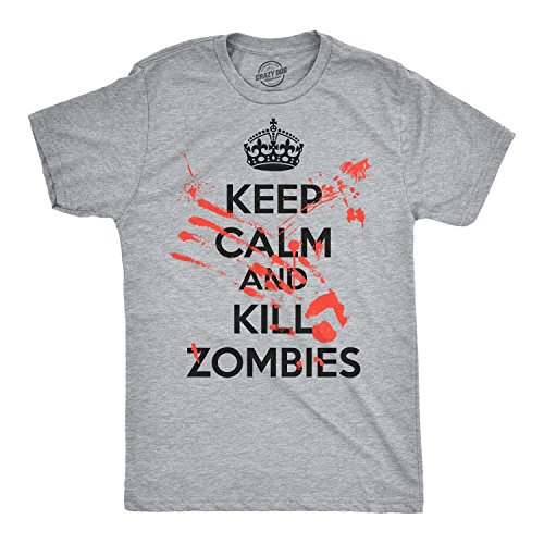 Crazy Dog T-Shirts Keep Calm and Kill Zombies T Shirt Outbreak Slash Movie Gag Gift Bloody (Heather Grey) - XL -