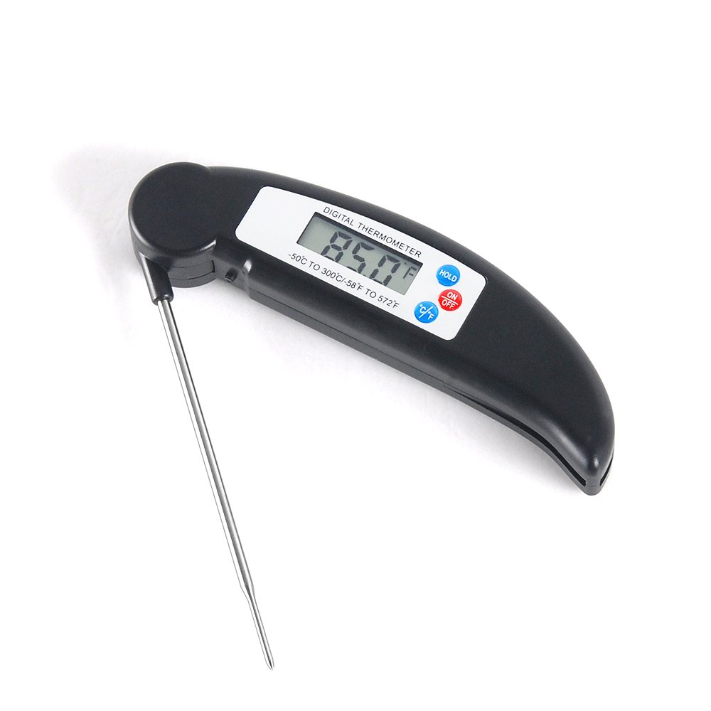 Instant Read Thermometer, JVSURF Digital Cooking Thermometer Grill Meat Thermometer with Food-Safe Stainless Probe for BBQ, Grill, Turkey and Beef, Black