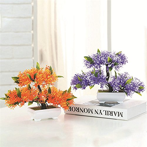 TRIEtree Artificial Bonsai, 2Pcs Plastic Mini Creative Bonsai Tree Flower Potted for Office Home Living Room Table Decor by TRIEtree (Image #2)