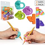 Pencil Grips,Firesara New Professional Pencil Aid Grip Set Teach Writing Tools Butterfly and 3 Fingers Sets Ergonomic Writing Aid for Kids Preschoolers Children Adults Arthritis 2 Types (6pcs)