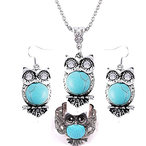 Silver Tone Oval Pendant (Christmas Gifts New Year New You Deals-Valentoriavintage Tibetan Heart Silver Ethnic Gothic Oval Turquoise Inlay Wide Silver Tone Cuff Bracelet Earrings Necklaces (Owl Turquoise Jewelry Set))